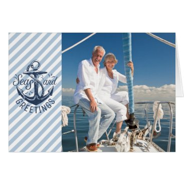 Beach Themed Nautical SEAson's Greetings, Navy Anchor & Stripes Card