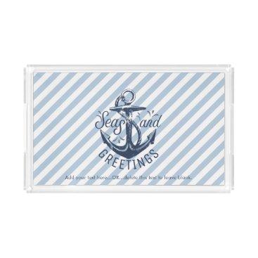 """Beach Themed Nautical """"SEAson's Greetings"""" Navy Striped Acrylic Tray"""