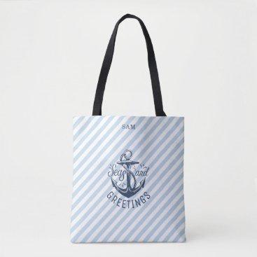 Beach Themed Nautical SEAson's Greetings, Navy Stripes Tote Bag