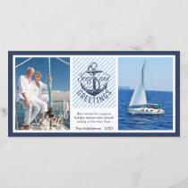 Nautical SEAson's Greetings - Navy & White Stripes Holiday Card