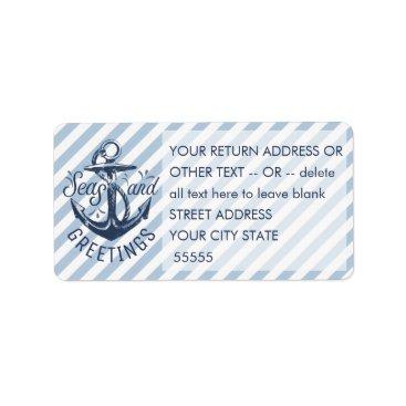 "Beach Themed Nautical ""SEASon's Greetings"" Navy/White Stripes Label"