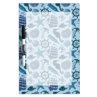 Nautical Shades Of Blue Pattern Dry Erase Board