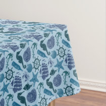 Nautical Shades Of Blue Pattern Tablecloth