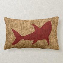 Nautical Shark Rustic Red Lumbar Pillow