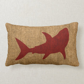 Nautical Shark Rustic Red Lumbar Pillow