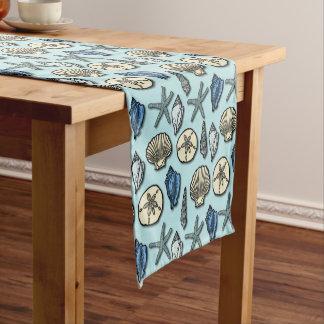 Good Nautical Shell Starfish Beach Sea Pattern Blue Short Table Runner