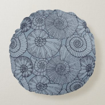 Beach Themed Nautical Shells in Blue Round Pillow