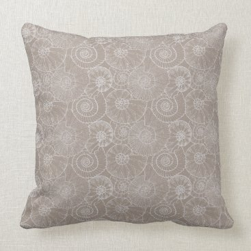 Beach Themed Nautical Shells in Gray Pillow