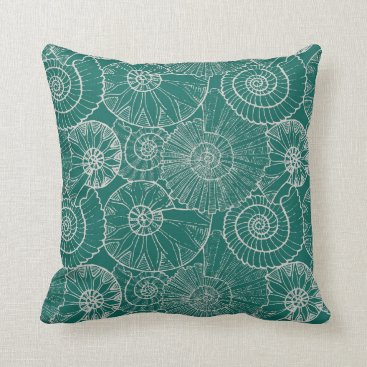 Beach Themed Nautical Shells in Teal Pillow