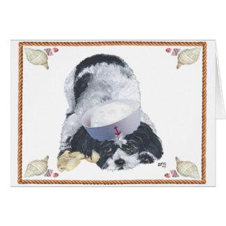 Nautical Shih Tzu with Seashells Greeting Card