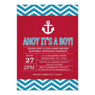 Nautical ship anchor baby boy shower card