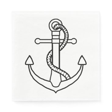 Beach Themed Nautical Ship Anchor Black And White Wedding Party Napkin