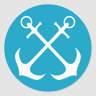 Nautical Ship Anchor Blue And White Sailor Boat Classic Round Sticker