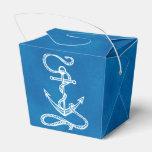 Nautical Ship Anchor Blue Beach Wedding Party Favor Box