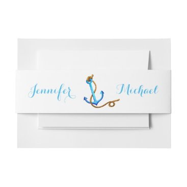 Beach Themed Nautical Ship Anchor Blue Turquoise Wedding Party Invitation Belly Band