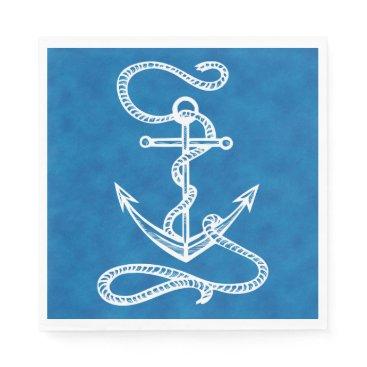 Nautical Ship Anchor Blue Watercolor Wedding Napkin