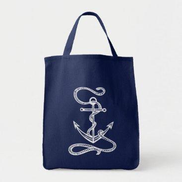 Nautical Ship Anchor Blue Watercolor Wedding Tote Bag