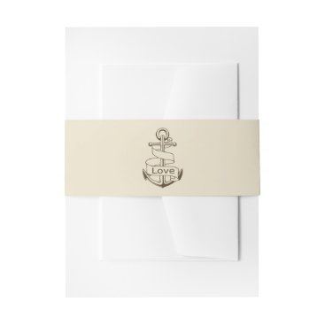 Beach Themed Nautical Ship Anchor Brown Tan Wedding Love Invitation Belly Band