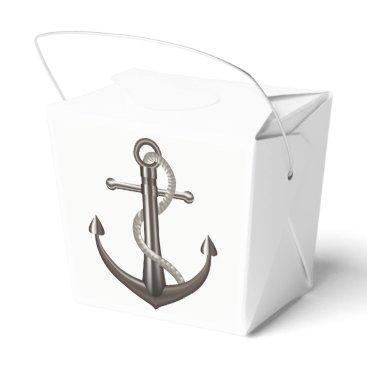 Beach Themed Nautical Ship Anchor Gray Brown Wedding Party Favor Box