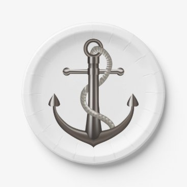 Beach Themed Nautical Ship Anchor Gray Wedding Beach Paper Plate