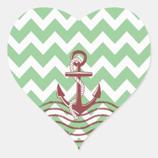 Nautical Ship Anchor Mint Chevron Pattern Sticker