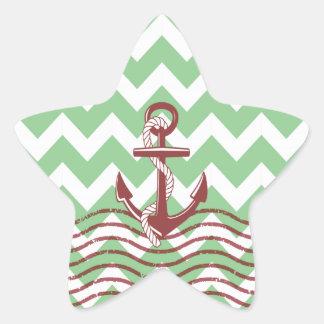 Nautical Ship Anchor Mint Chevron Pattern Star Stickers