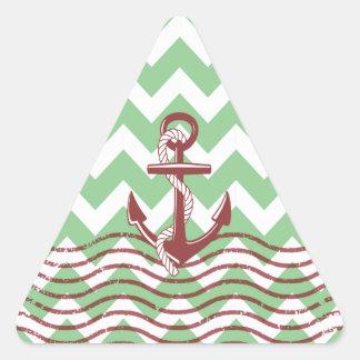 Nautical Ship Anchor Mint Chevron Pattern Triangle Sticker