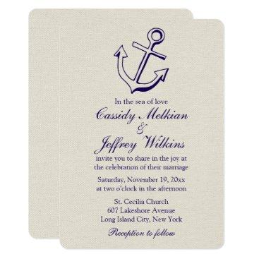 Beach Themed Nautical Ship Anchor Navy Blue, Tan Wedding Sailor Card