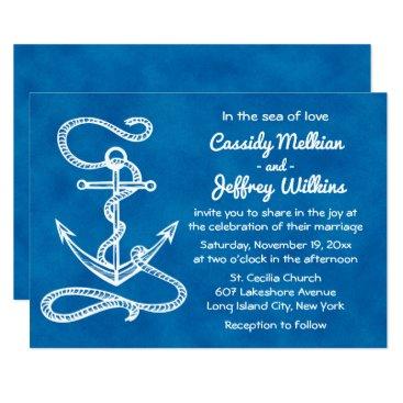 Beach Themed Nautical Ship Anchor Navy Blue Watercolor Wedding Card
