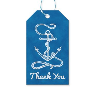 Nautical Ship Anchor Navy Blue Watercolor Wedding Gift Tags