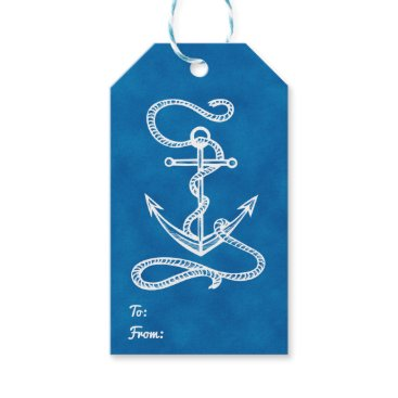 Beach Themed Nautical Ship Anchor Navy Blue Watercolor Wedding Gift Tags