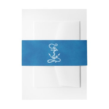 Nautical Ship Anchor Navy Blue Watercolor Wedding Invitation Belly Band