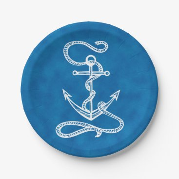 Nautical Ship Anchor Navy Blue Watercolor Wedding Paper Plate