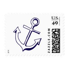 Nautical Ship Anchor Navy Blue Wedding Sailor Postage