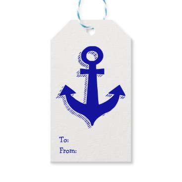 Beach Themed Nautical Ship Anchor Navy Blue & White Gift Tags