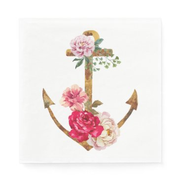 Beach Themed Nautical Ship Anchor Pink Flowers Vintage Party Paper Napkin