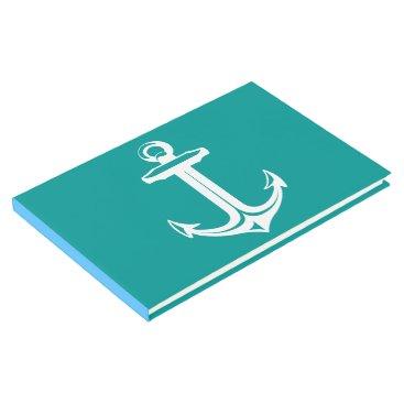 Beach Themed Nautical Ship Anchor Teal Wedding, Bridal Shower Guest Book