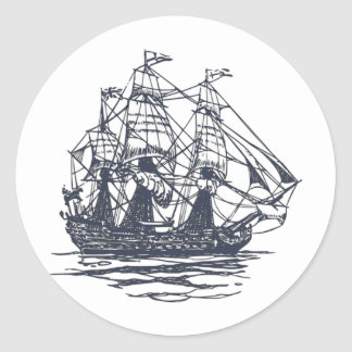 Nautical Ship Classic Round Sticker