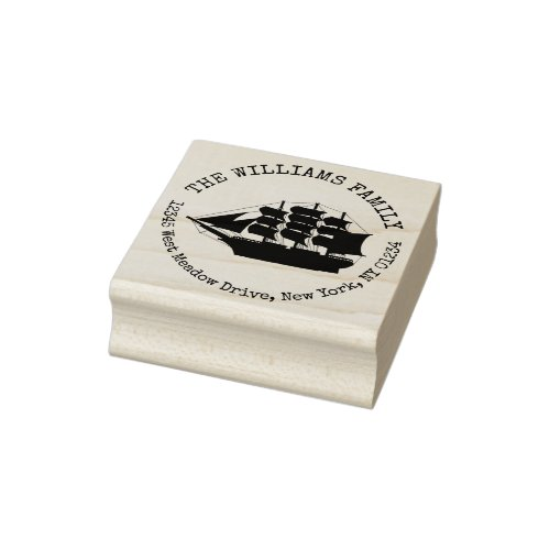 Nautical Ship Create Your Own Return Address Rubber Stamp