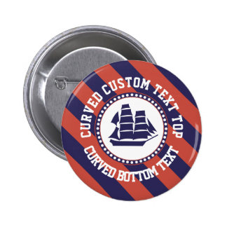 Nautical ship curved text pinback button