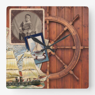 Nautical Ship Helm Vintage Photo Frame Antique Map Square Wall Clock