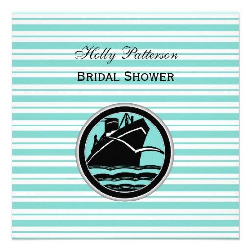 Nautical Ship Lt Blu Wht Stripe #2 S Bridal Shower Invitation