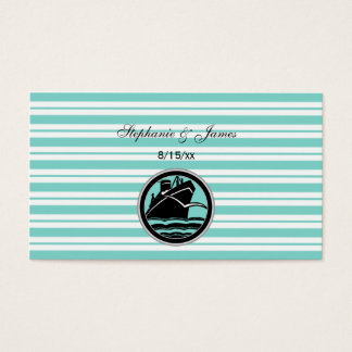 Nautical Ship Lt Blue White Stripe Escort Cards
