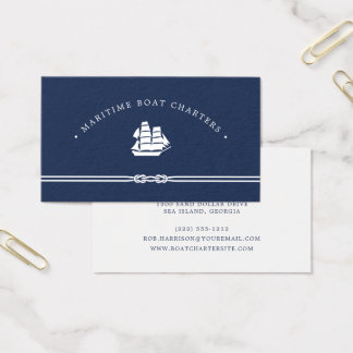 Nautical Ship   Navy and White   Boat Charter Business Card