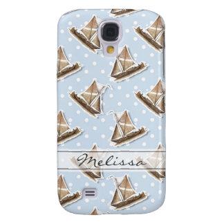 Nautical Ship, Sailboats Pattern, Polka Dots Samsung Galaxy S4 Case