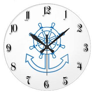 Nautical ship wheel and anchor wall clock