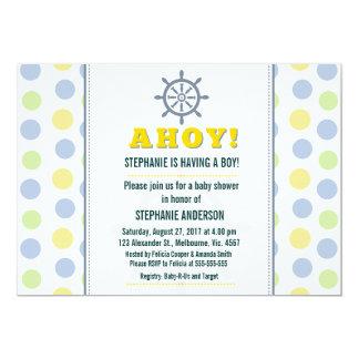 Nautical ship wheel baby boy shower card