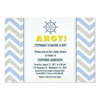 Nautical ship wheel baby boy shower 5x7 paper invitation card