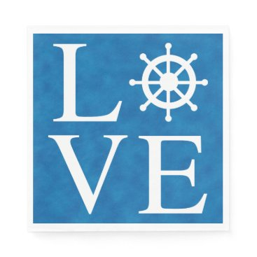 Nautical Ship Wheel Love Watercolor Blue Sailor Napkin