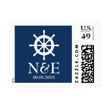 Beach Themed Nautical ship wheel navy blue white wedding stamps